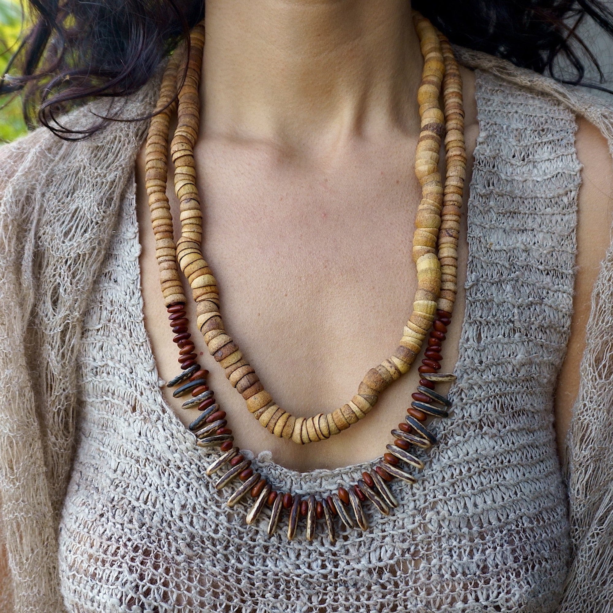 Double Wild Seeds Necklace • Handmade Seeds Necklace