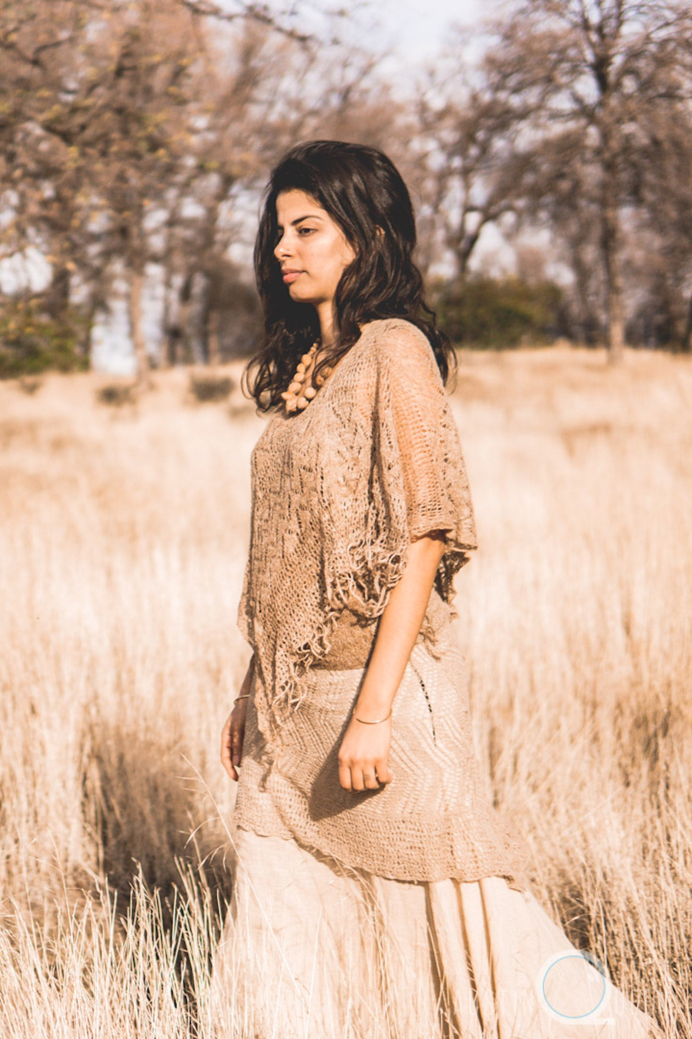 Knitted Short Poncho ~ From Himalayan Nettle