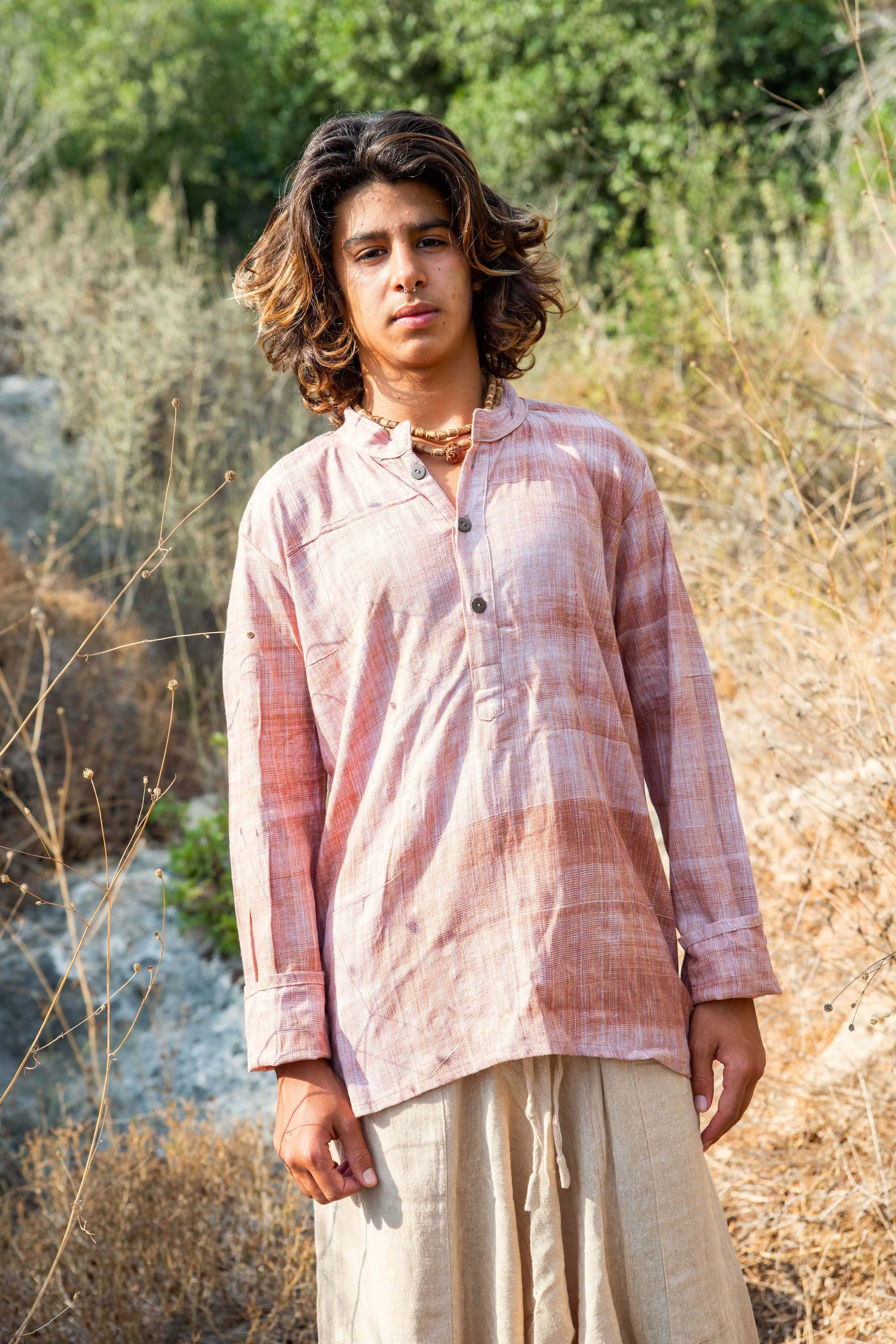 Earthy Short Kurta For Boys • Khadi Cotton • XS Men Size