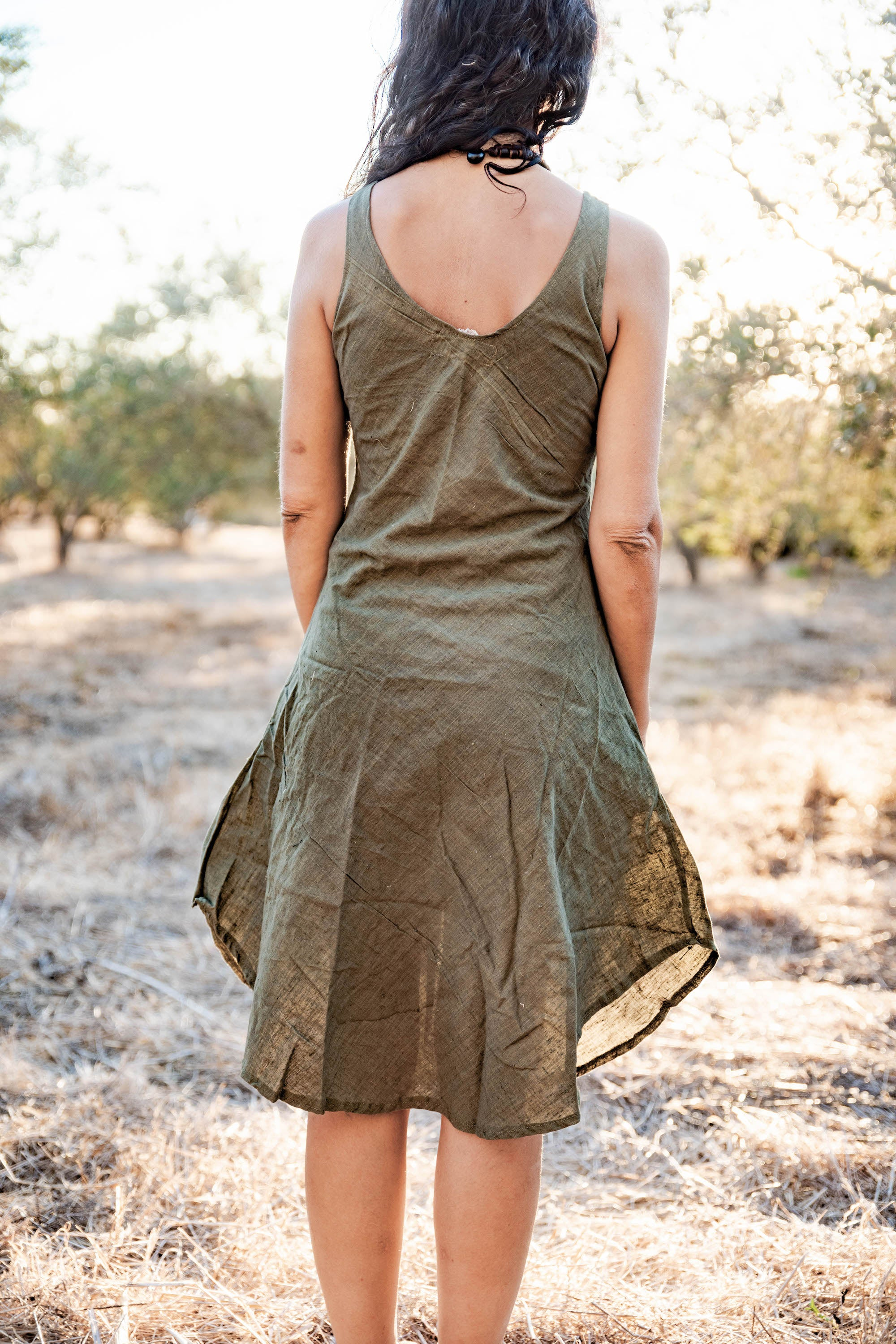 Kalya Dress • Handwoven Cotton • Natural Dye Green • Size XS