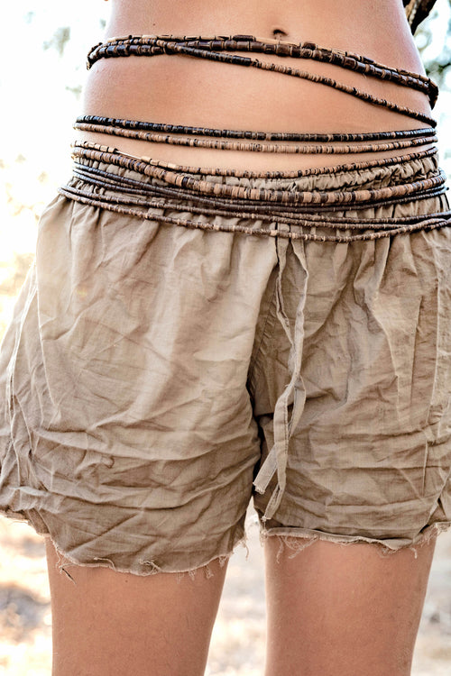 Herbal Dye Organic Cotton Shorts • Frayed bottom • Natural dye organic cotton