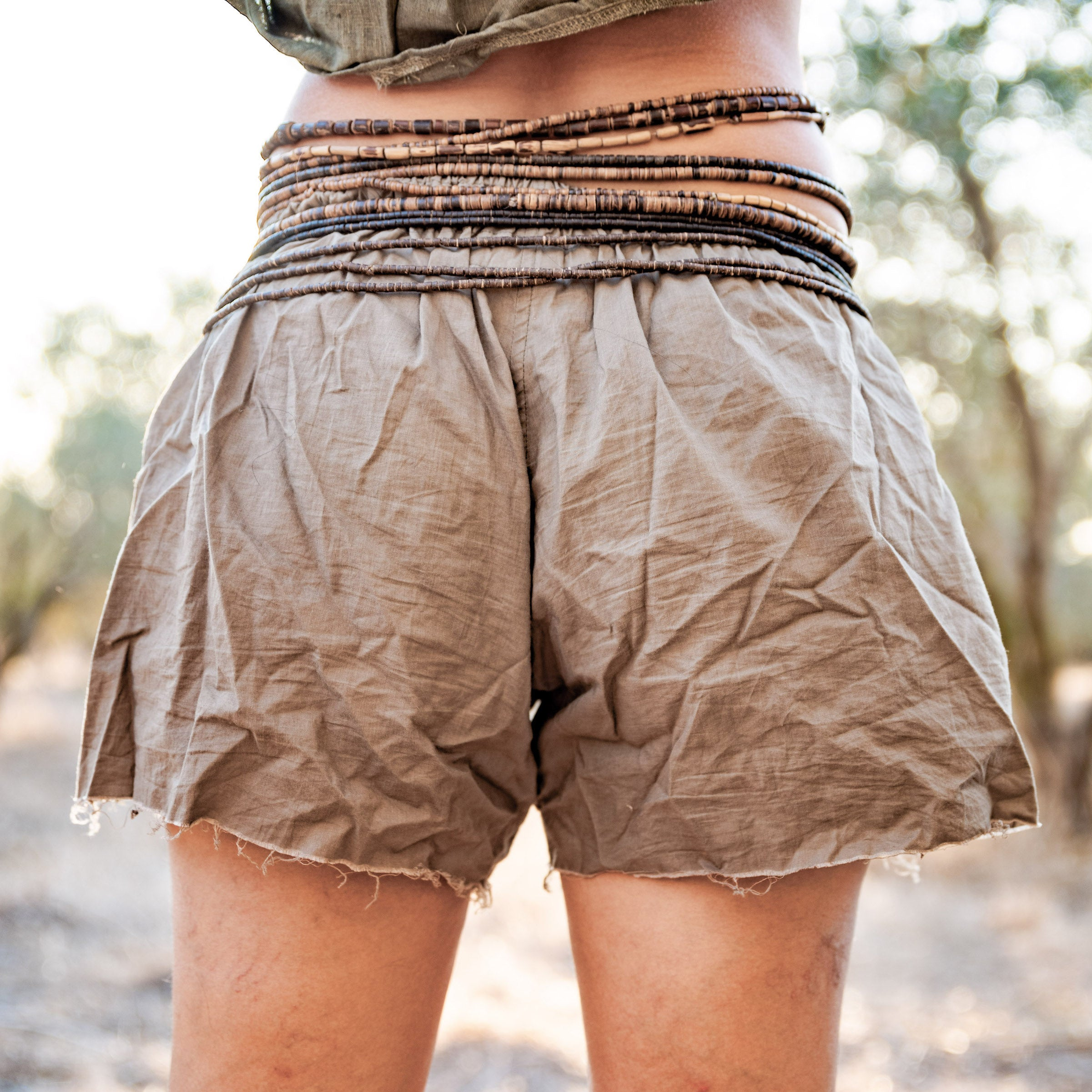 Herbal Dye Organic Cotton Shorts . Frayed bottom . Natural dye organic cotton .