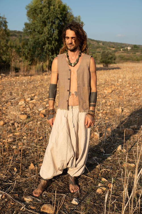 Single Layer Vest ~ Light brown khadi cotton
