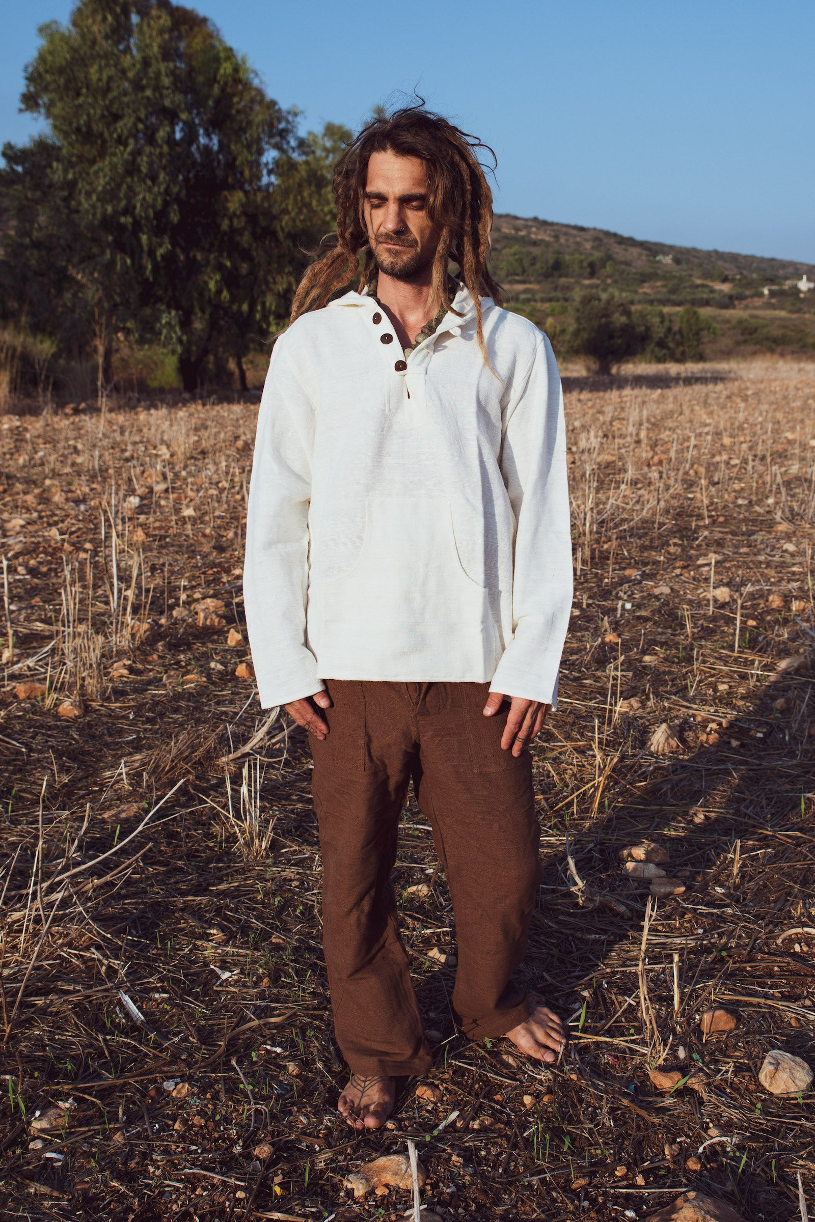 Handwoven cotton outfit • Pullover With Hoodie Handwoven Khadi Cotton + Straight Pants Handwoven Khadi Cotton