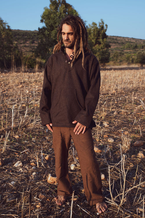 Earth Outfit Combination • Hooded Wool Shirt + Straight Pants Handwoven Khadi Cotton