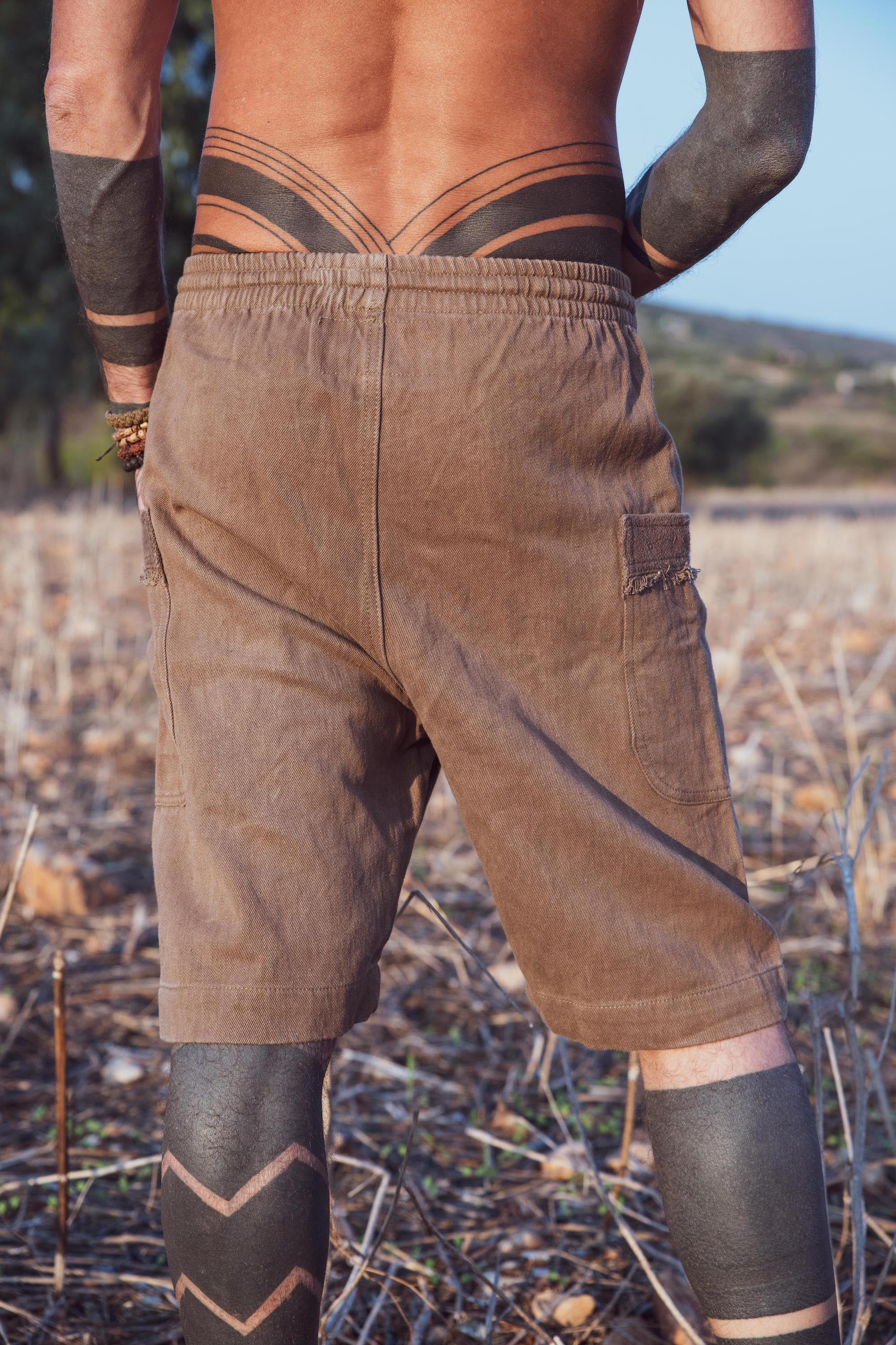 Walnut Bark Herbal Dye Short Hemp Short Pants • Natural Dye • Hemp Cotton Pants