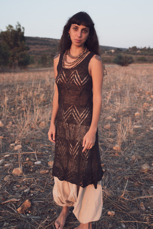 Brown Nettle yarn Dress. Hand-knitted nettle yarn. Plant Dyed with walnut bark , Harro and Cutch