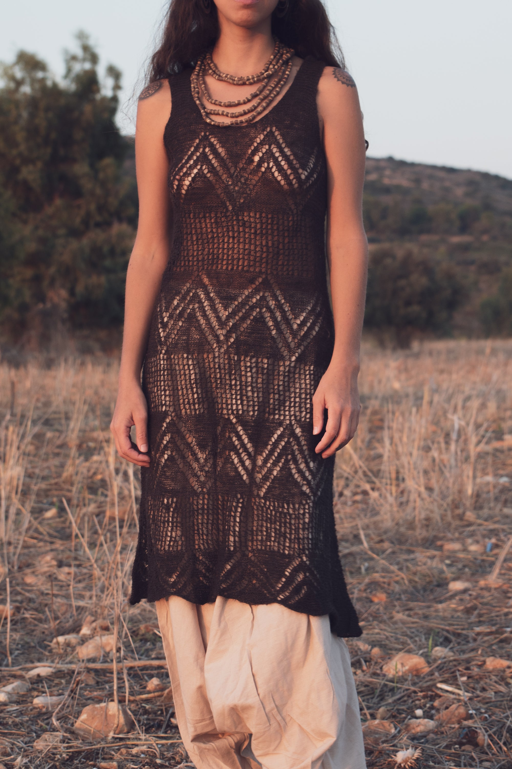 Brown Nettle Yarn Dress • Hand-knitted nettle yarn • Plant Dyed with Walnut Bark • Harro and Cutch