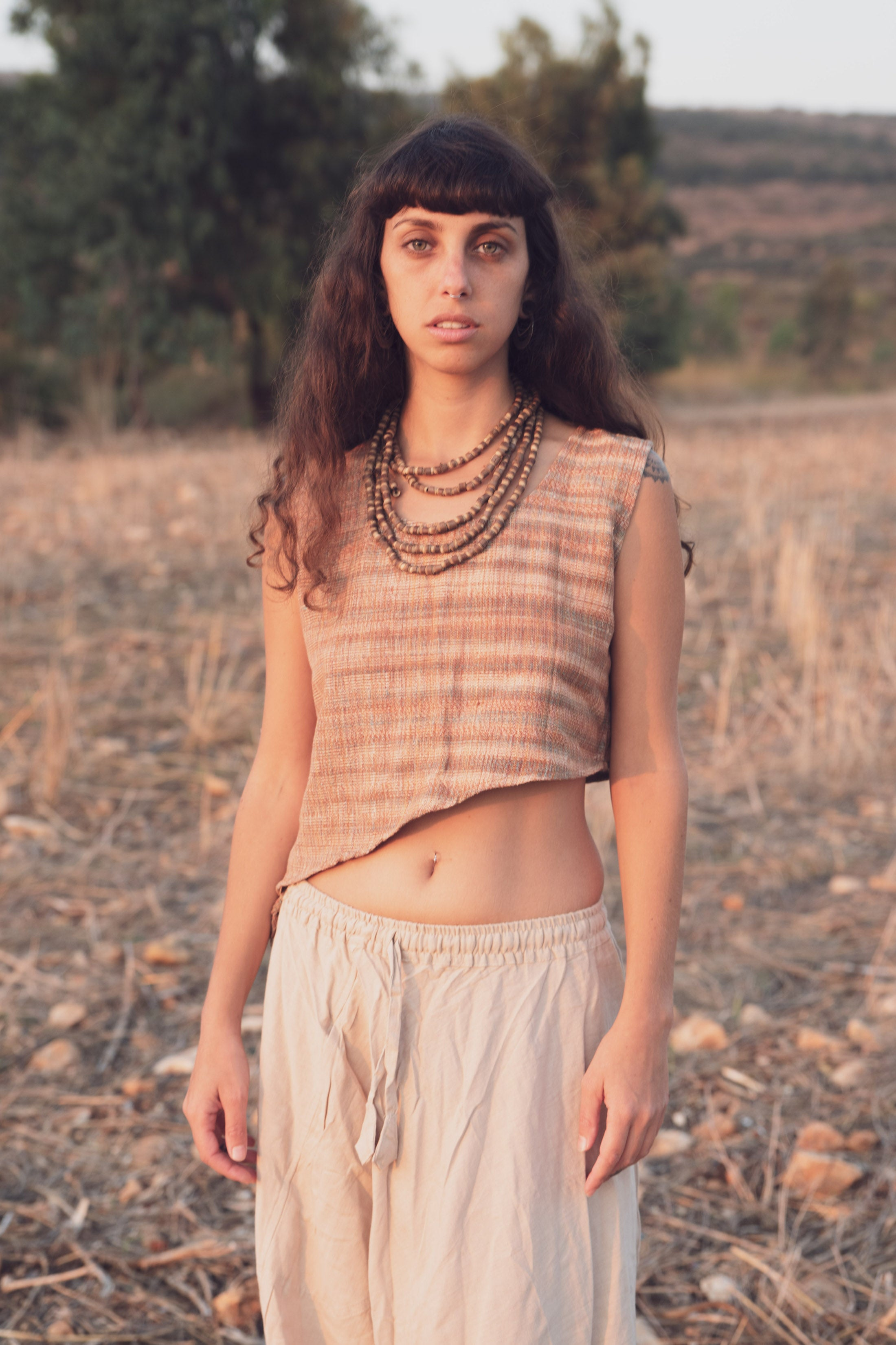 Sleeveless Pointy Top ~ Khadi Cotton