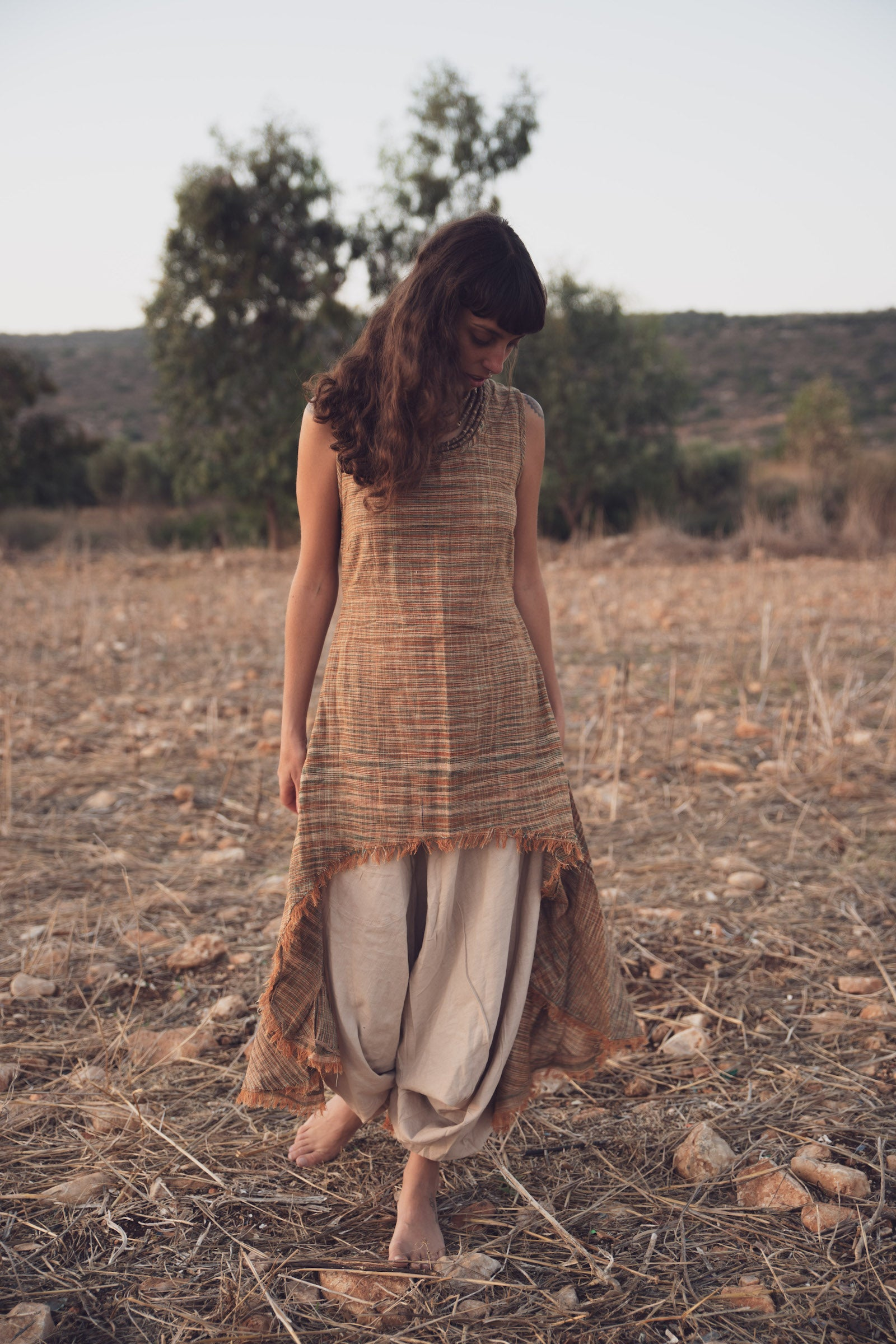 Asymmetrical Sleeveless Dress ⋙ Green Shades ⋙ Handwoven Khadi Cotton