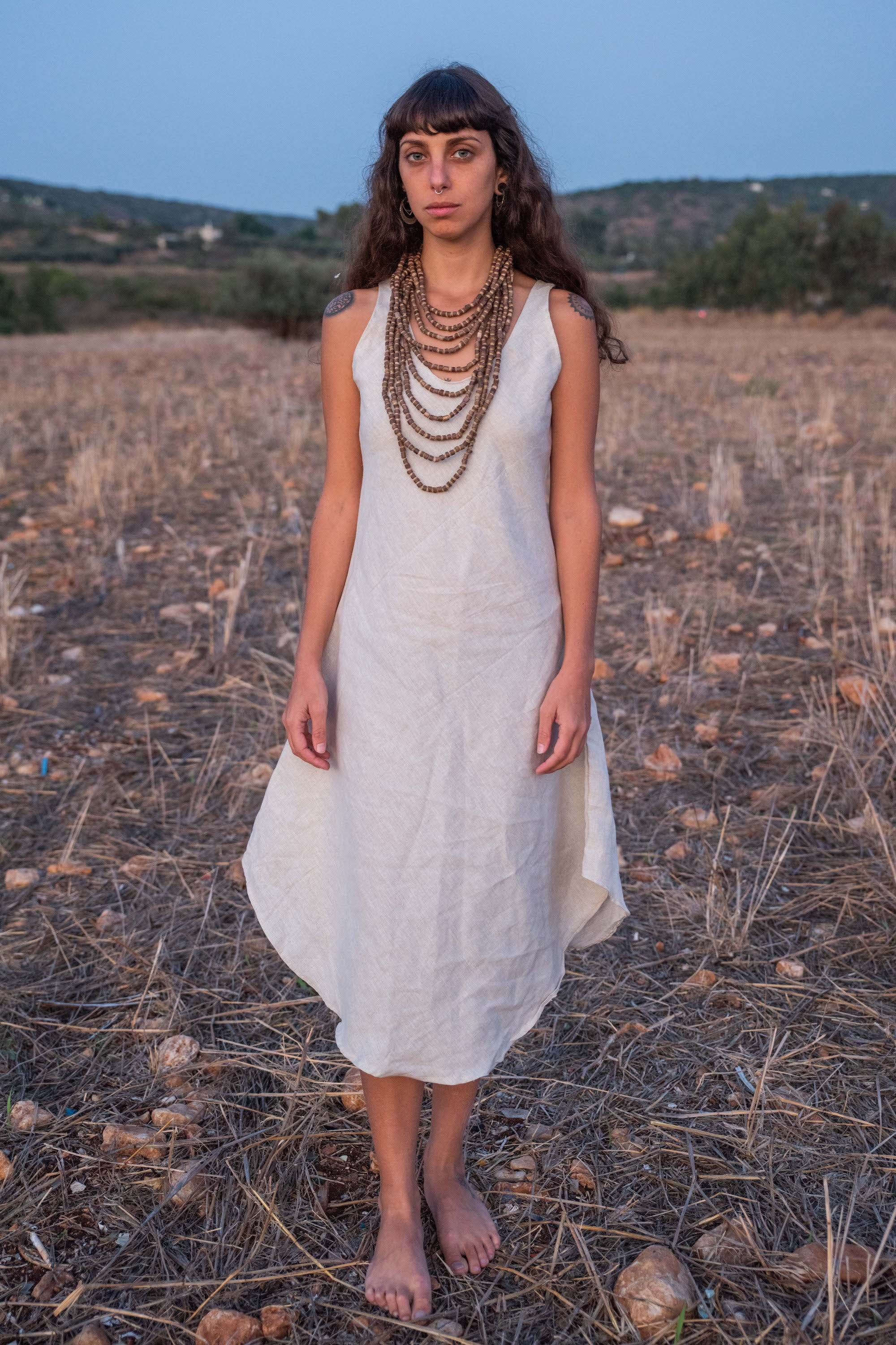 Kalya Dress • Natural Linen Dress • Sleeveless Short Dress