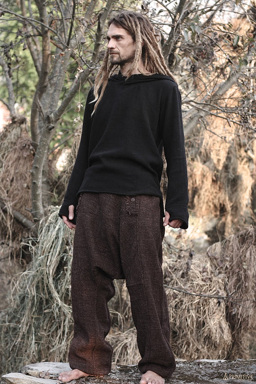 Semi Afghani Wool and Cotton Pants - Brown