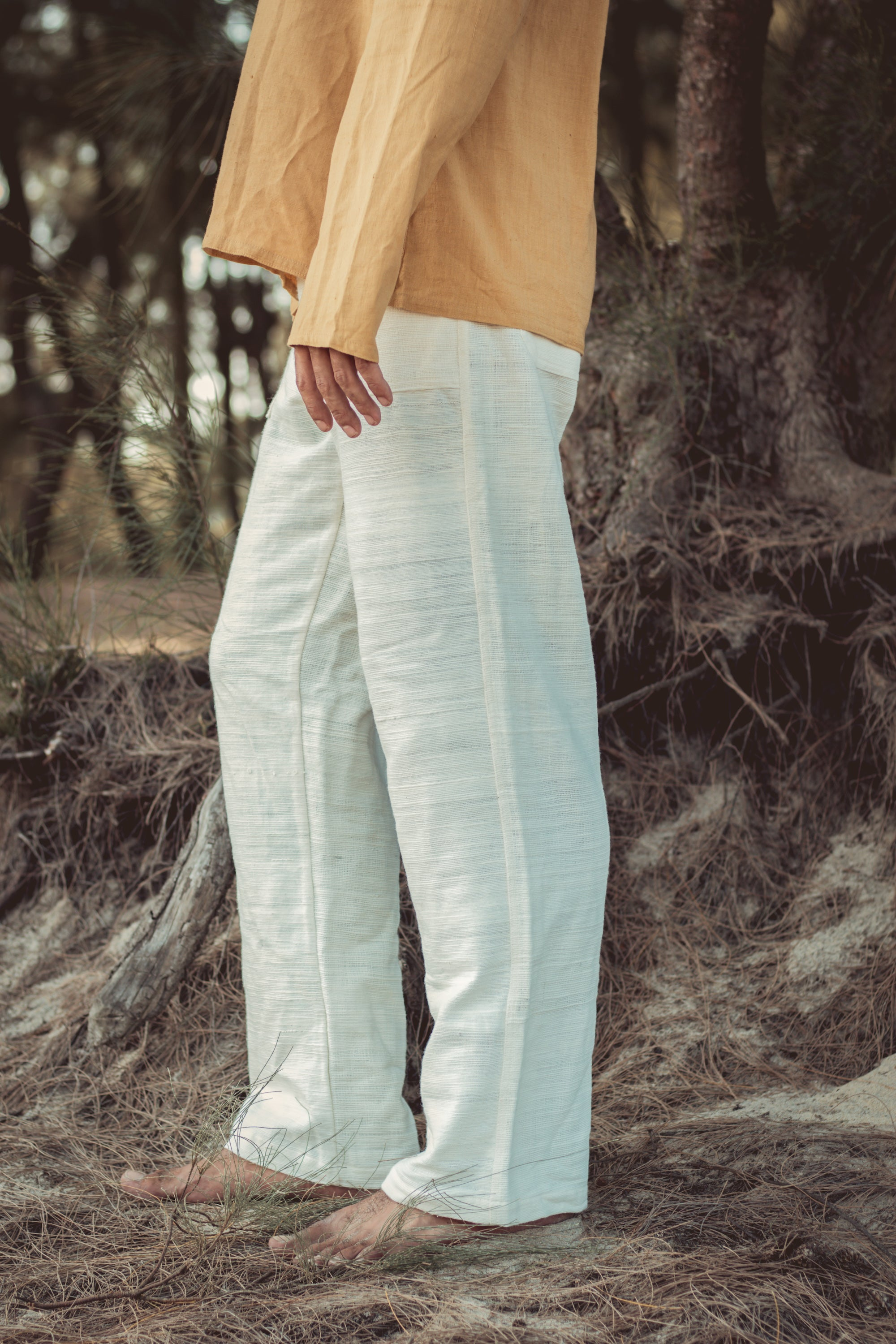 Straight Pants ~ Natural Khadi Cotton