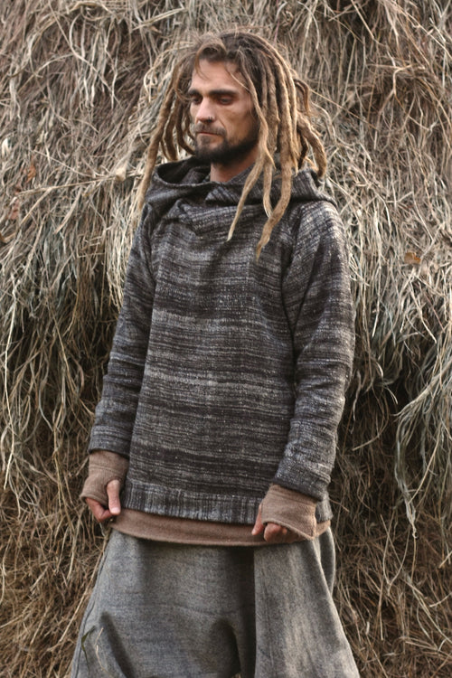 Grey Pullover ⫸ Handwoven Himalayan Wool