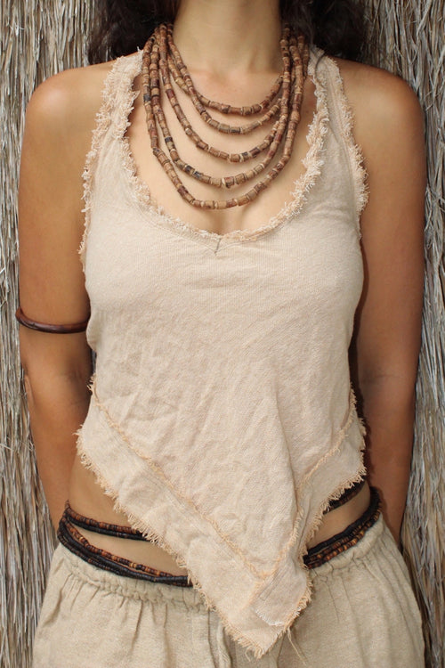 Backless Halter Top with Frayed edges - Natural Color