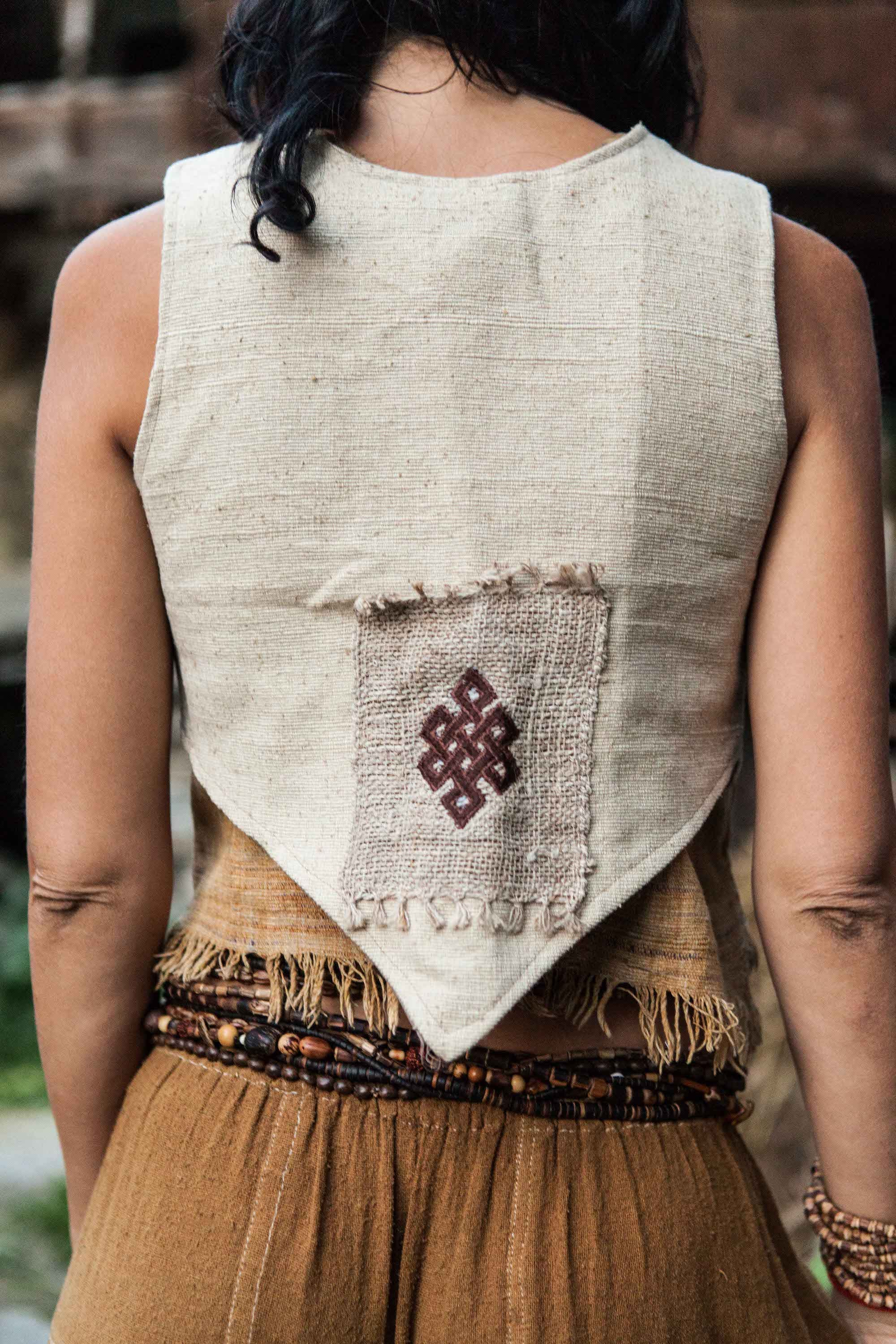 Little Raw Silk Vest With Eternal Knot Patch