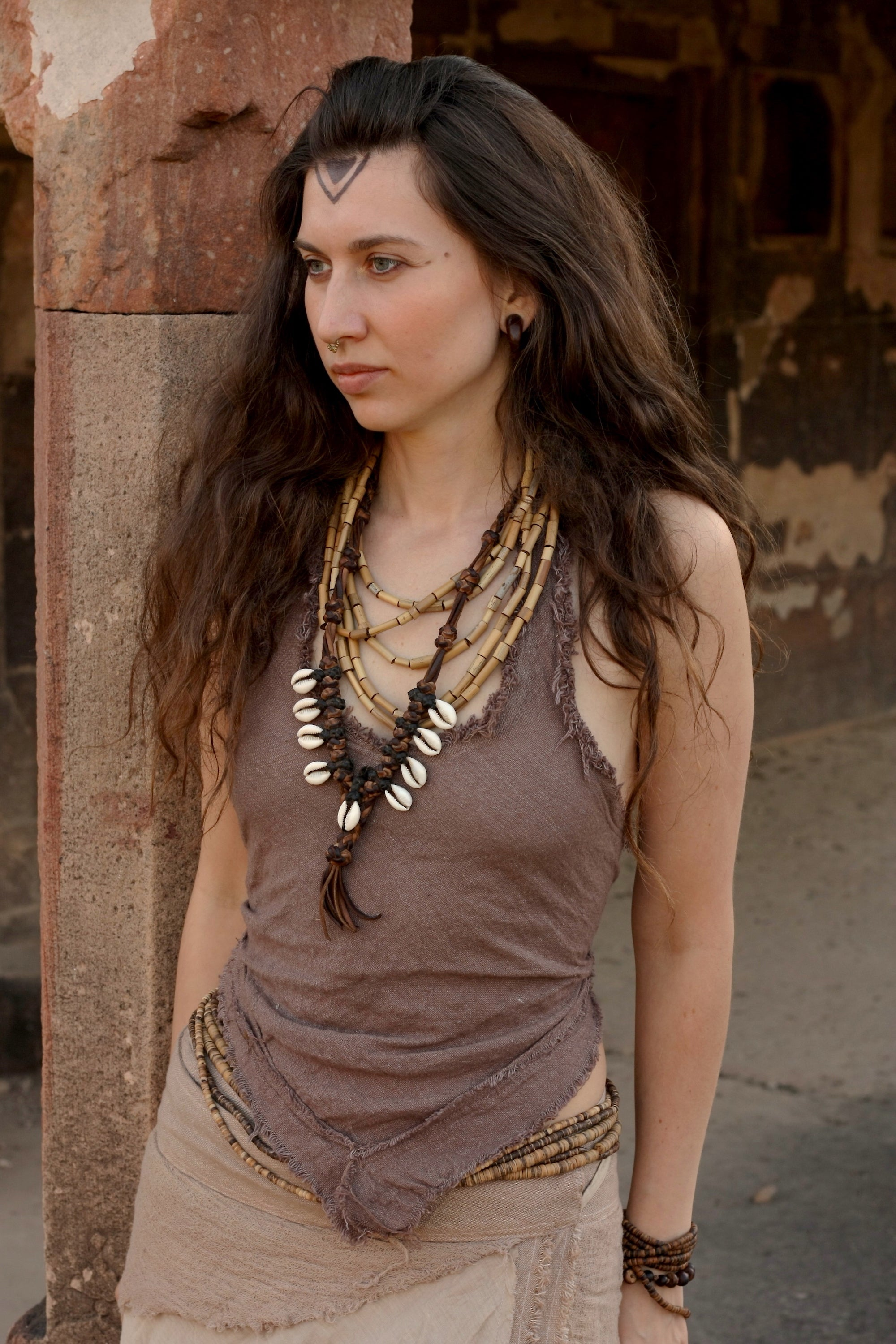 Backless Halter Top with Frayed edges - Brown cotton