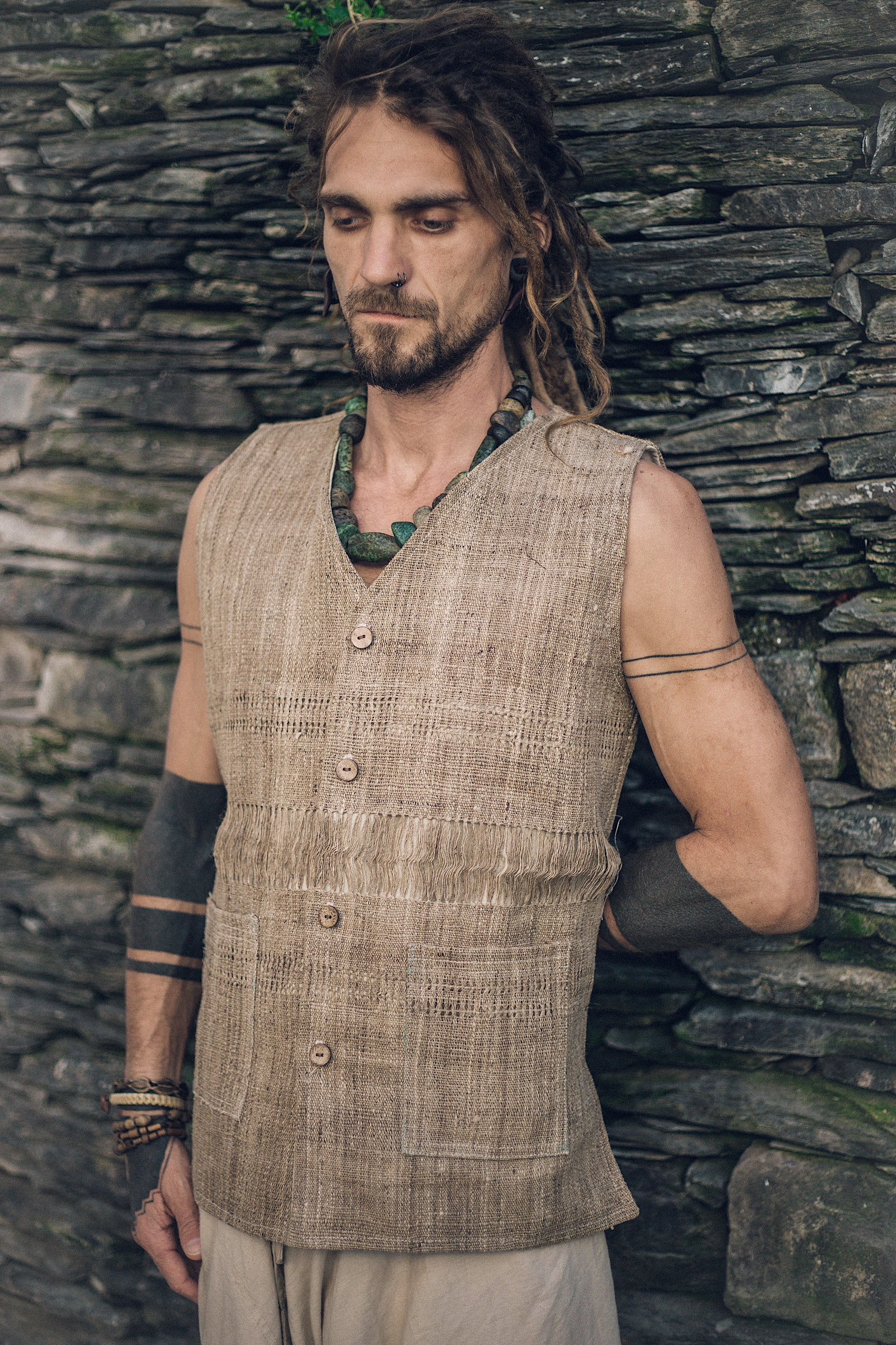 Hippie vest, gypsy men vest, festival vest for men, sleeveless vest, organic hooded vest, hippie vest with hoodie, hippie nomad vest, festival vest, gypsy vest, burning man cloth, natural hooded waistcoat, natural vest, vegan vest, eco men vest, handmade men vest,  men embroidered vest.  Tribal man vest, earthy vest, rusty vest, wool vest for men, hippie hemp vest, linen vest for men. Brown men vest,