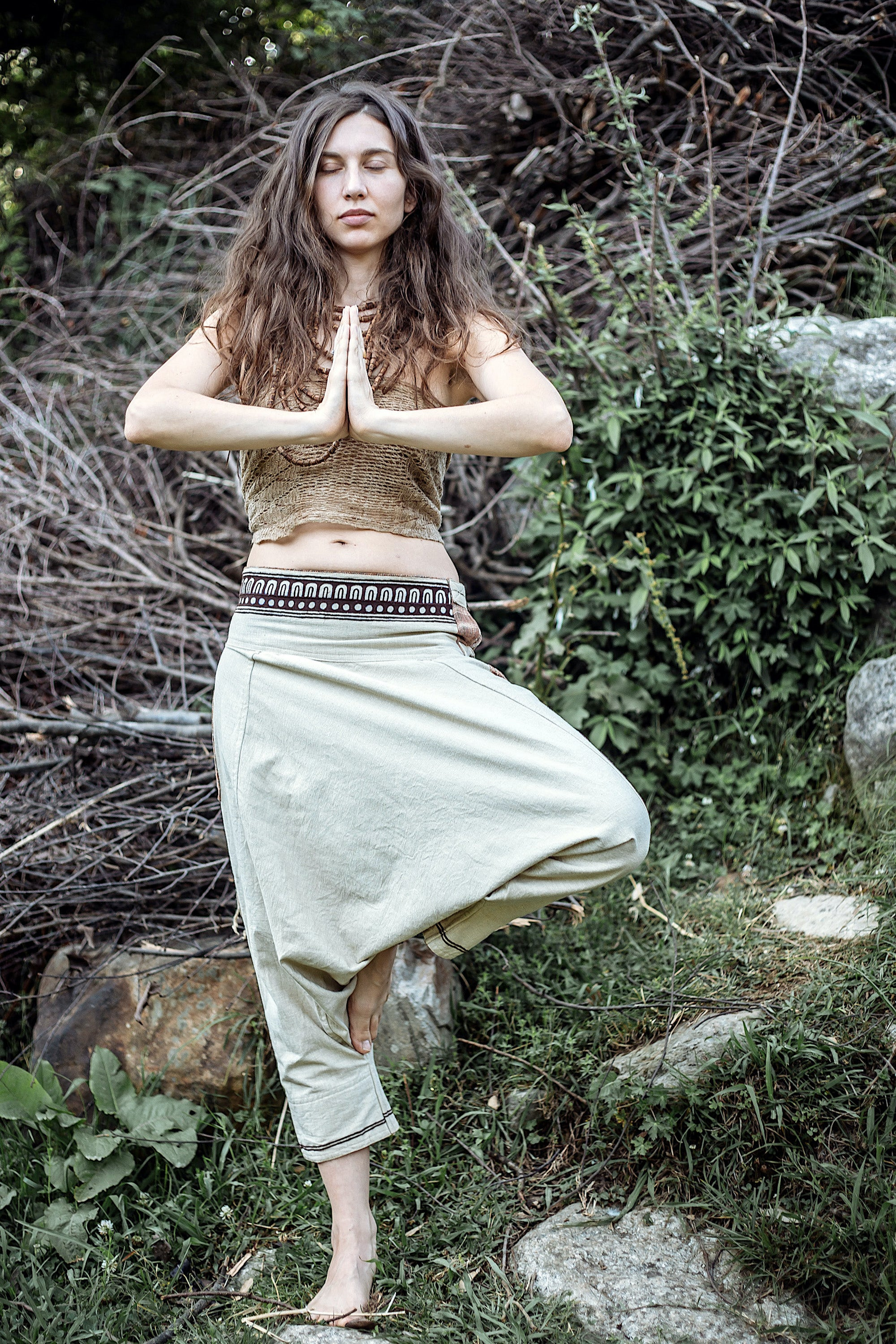 Hemp cotton Harem pants ~ With Tribal Embroidery ~  Unisex
