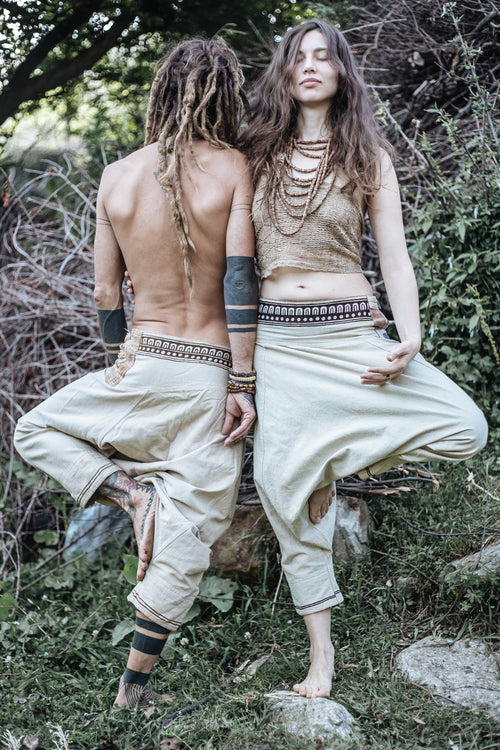Hemp Cotton Harem Pants ⋗⋙ With Tribal Embroidery ⋗⋙ Unisex ⋘⋖