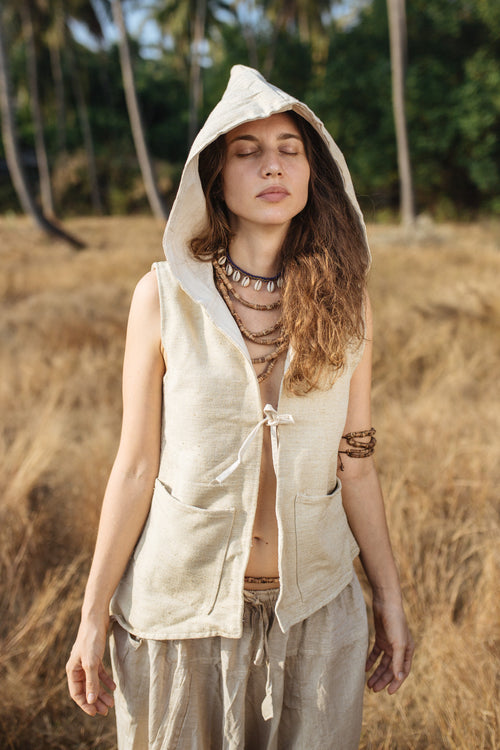 Raw Silk Vest With Hoodie