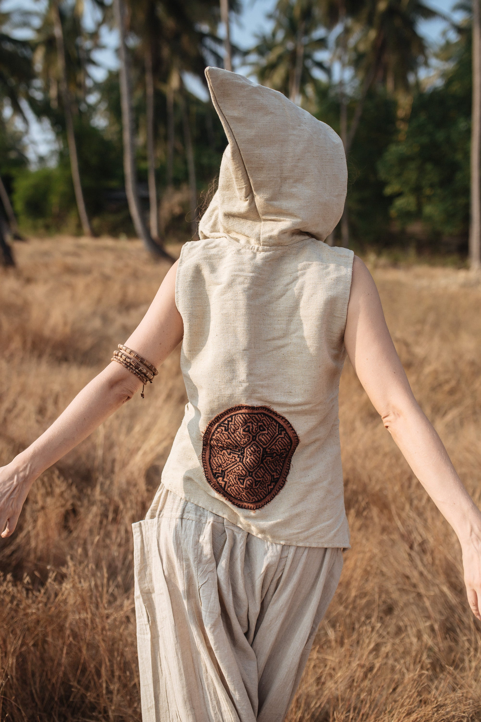 Shipibo Raw Silk Vest With Hoodie
