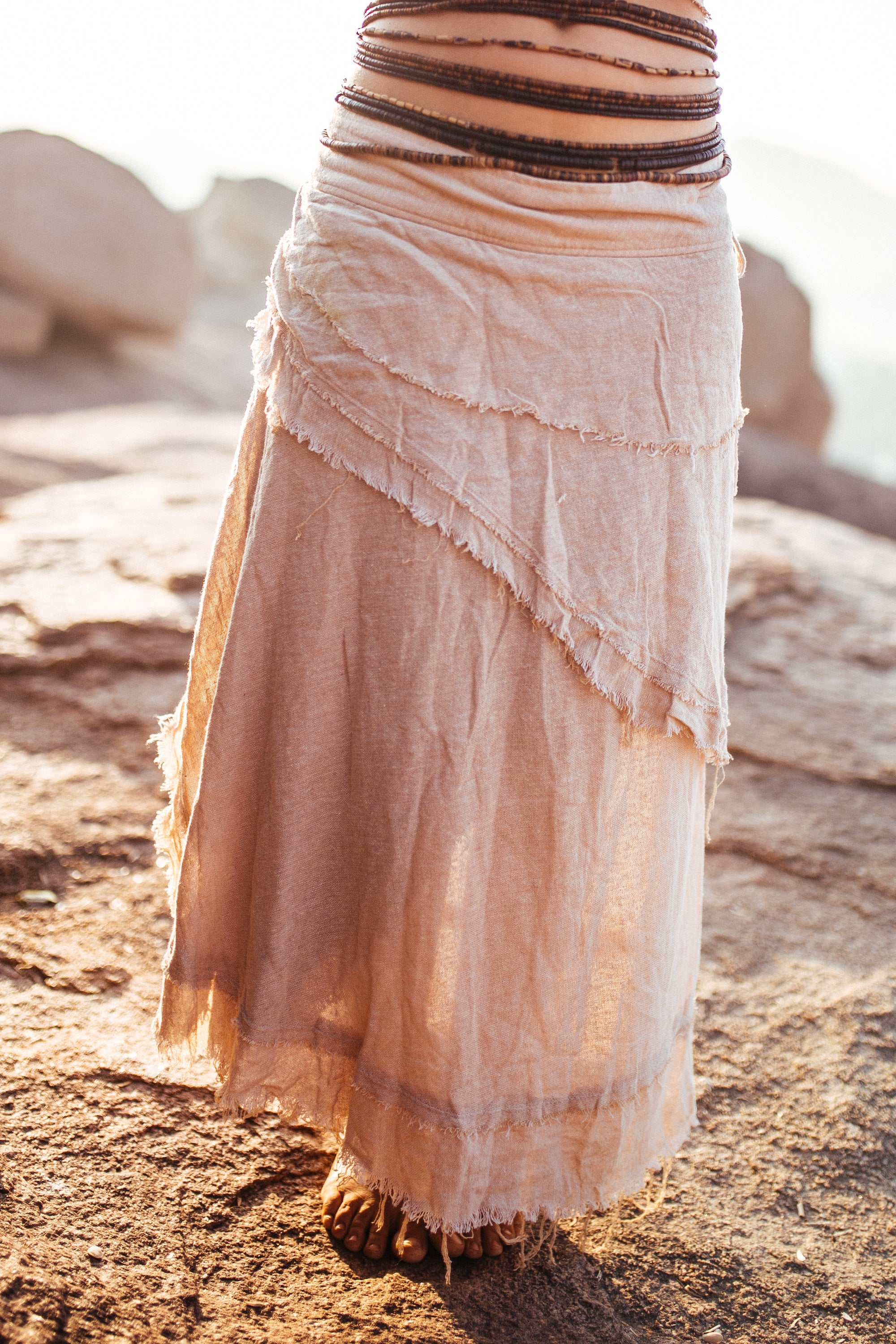 Gypsy long Wrap Skirt with frayed edges