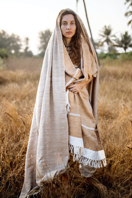 Tribal Handwoven Raw Silk Shawl