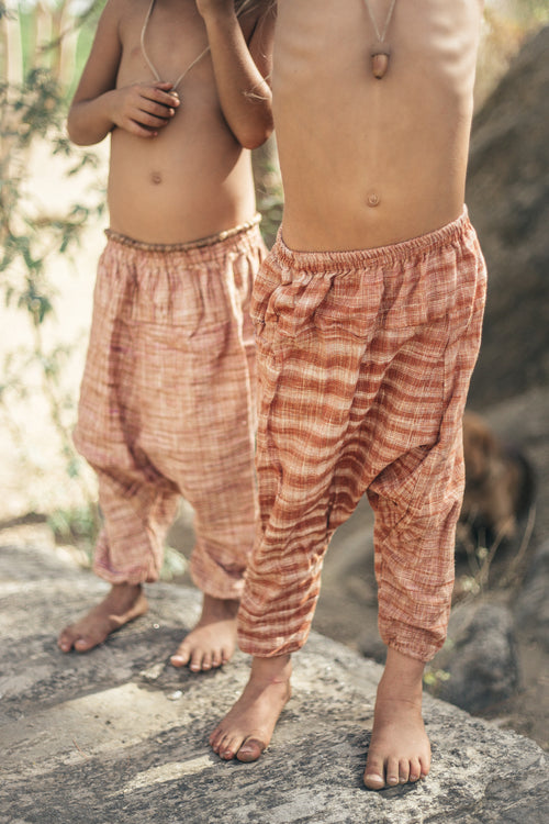 Children Harem Pants • Handwoven Khadi Cotton • Afghani pants • Aladdin Pants • Earth Children