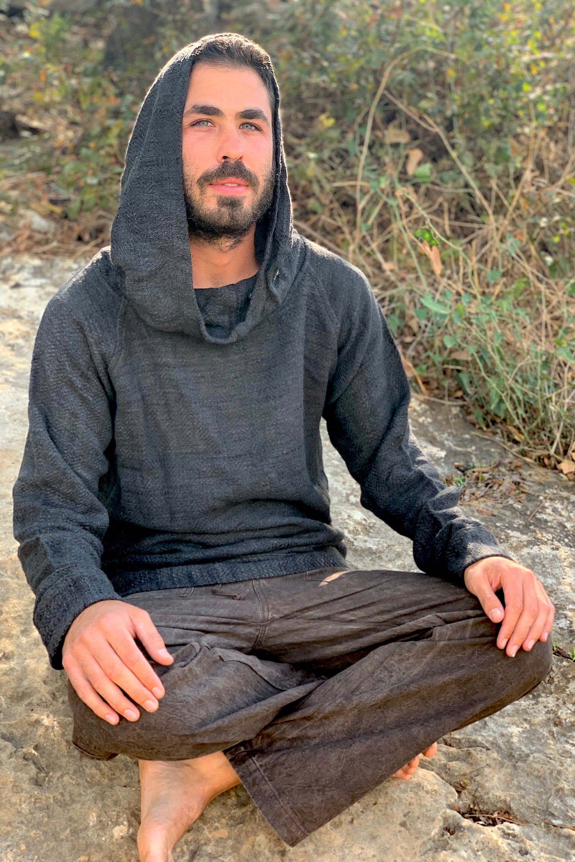 Hemp Wool Black Pullover • Herbal Dye