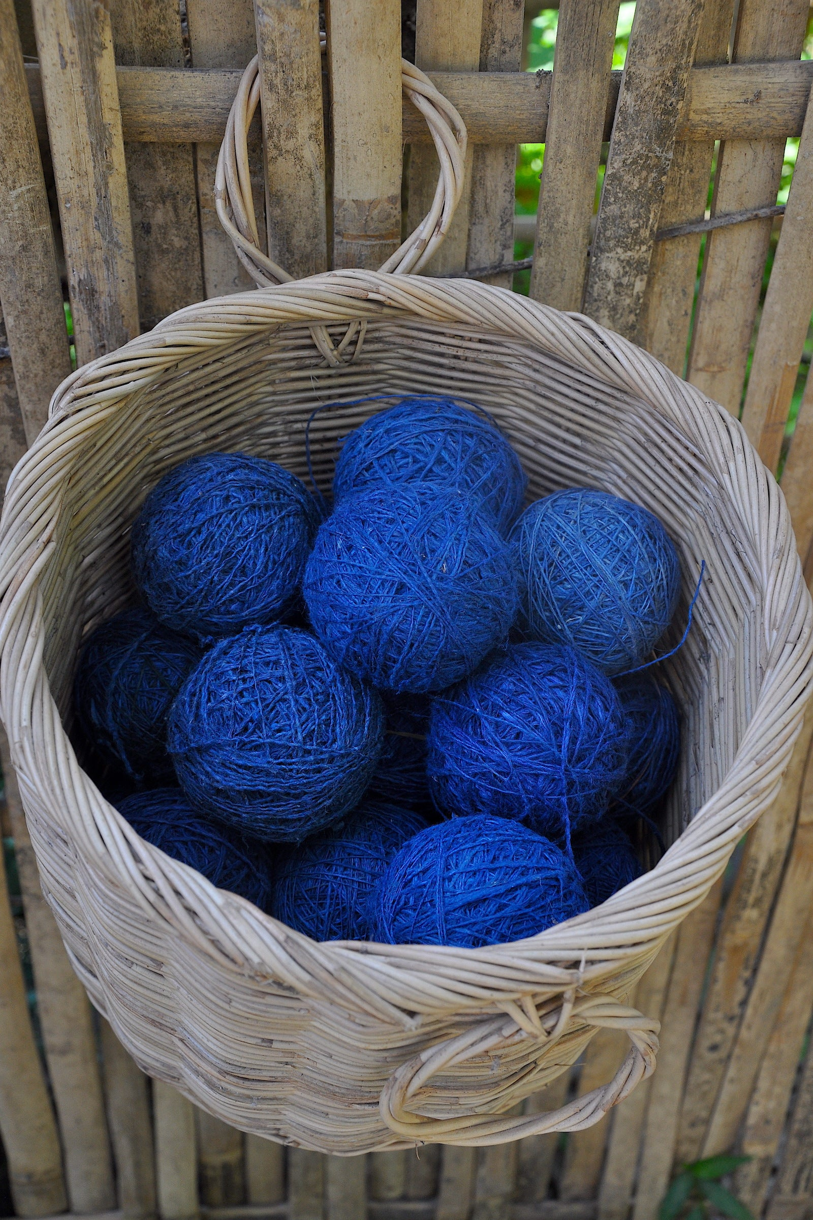 Indigo Dyed Handmade Hemp Yarn Roll