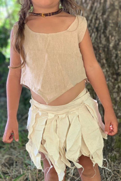 Cream Magic Leaves ⋙ Pixie Skirt ⋙ Belt For Children