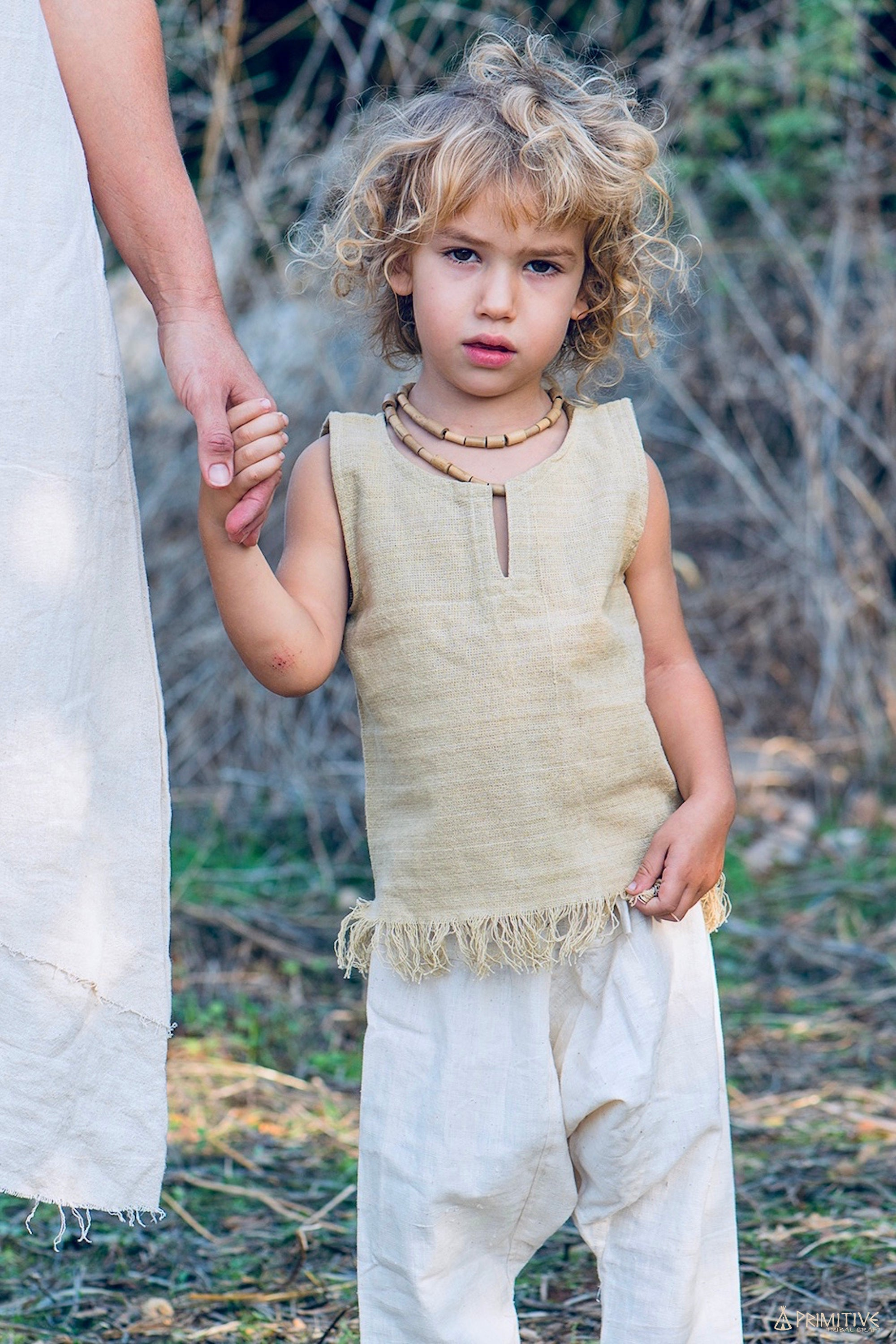 Frayed Handloom Top For Children. Handwoven Hemp Cotton. Earthy children Top.