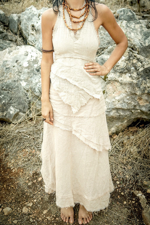 Gypsy Women Outfit >>~•》Gypsy Long Wrap Skirt with Frayed Edges + Earth Frayed Top • Natural Cotton >>~•》