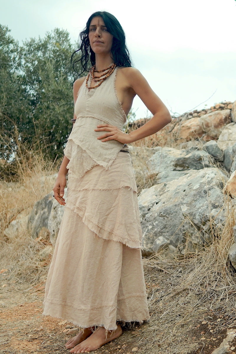 Gypsy Women Outfit >> Gypsy Long Wrap Skirt with Frayed Edges ⋙⋗ + Earth Frayed Top ⋙ Natural Cotton