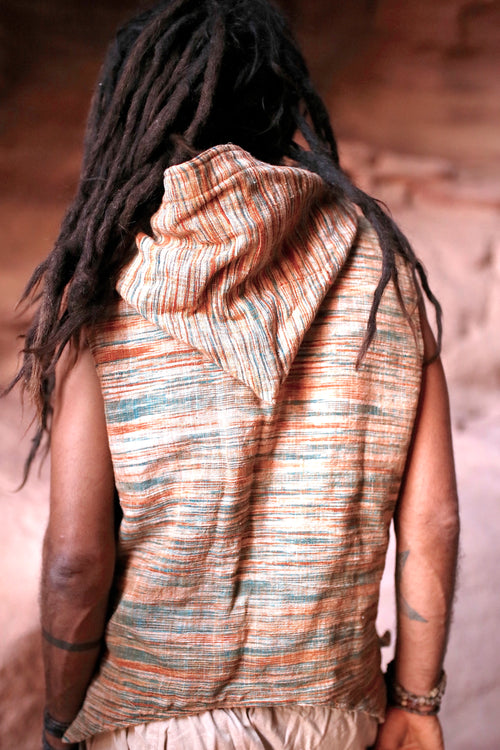 Tibetan Vest with Hoodie ~ Khadi Cotton