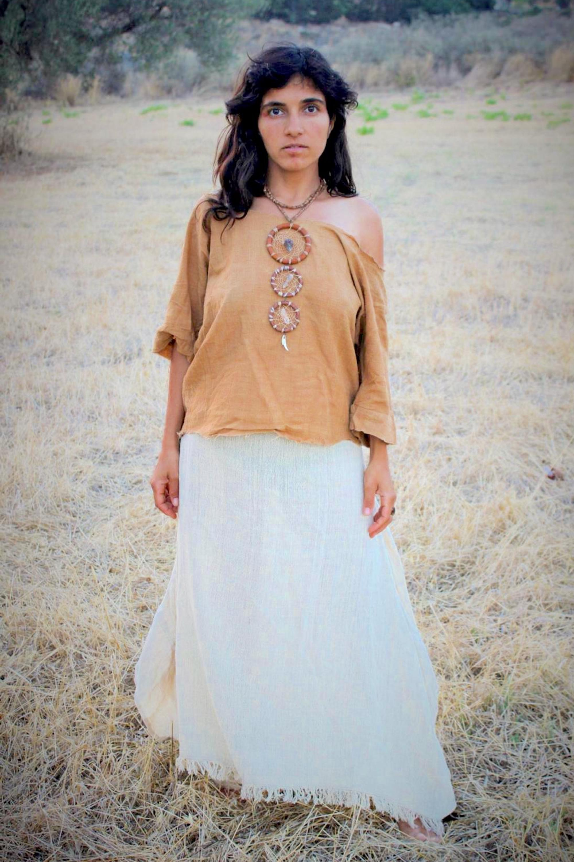 Cut Gypsy Top • Camel Brown • Natural Dye • Handwoven Cotton