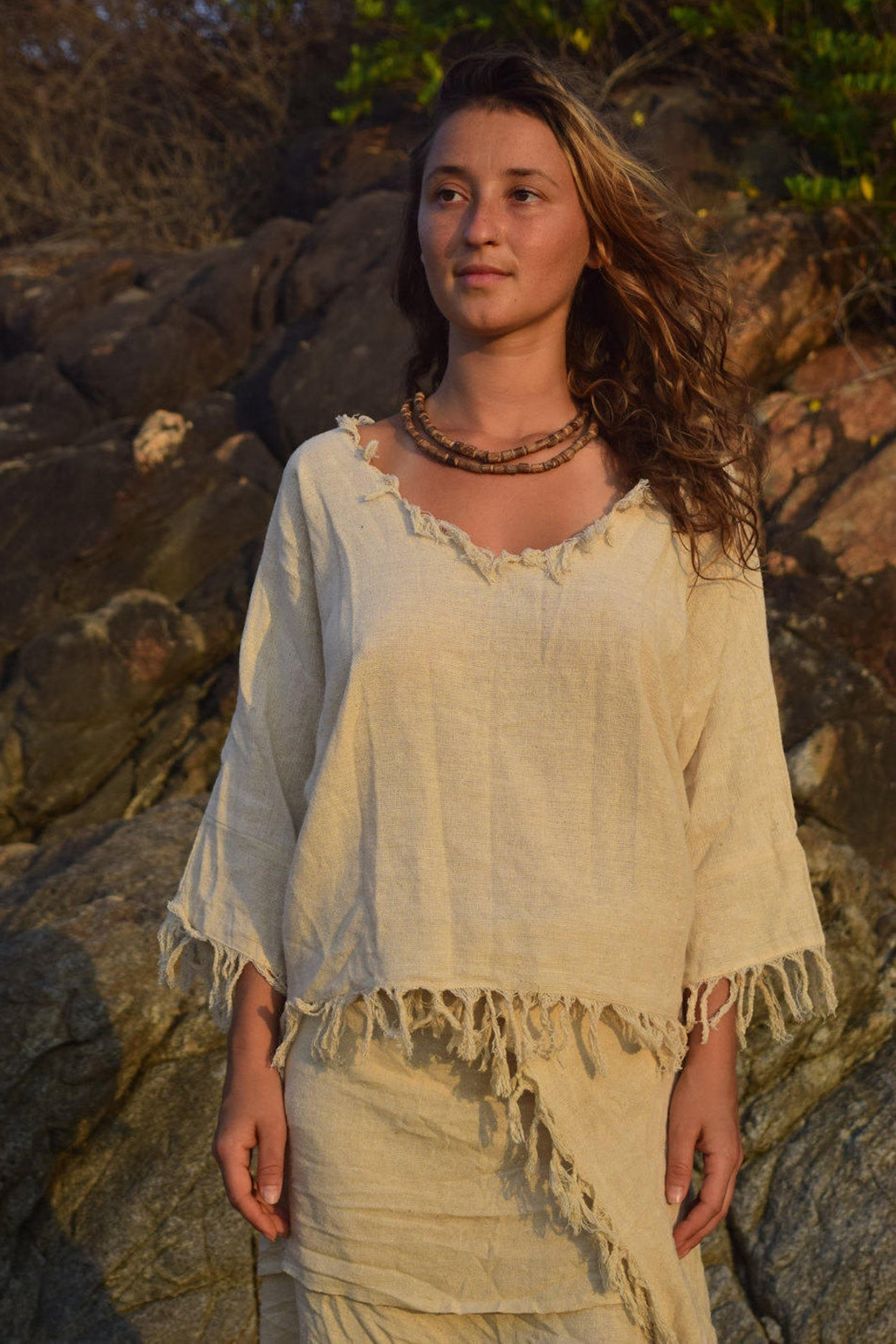 Frayed Gypsy Top • Handwoven Raw Silk