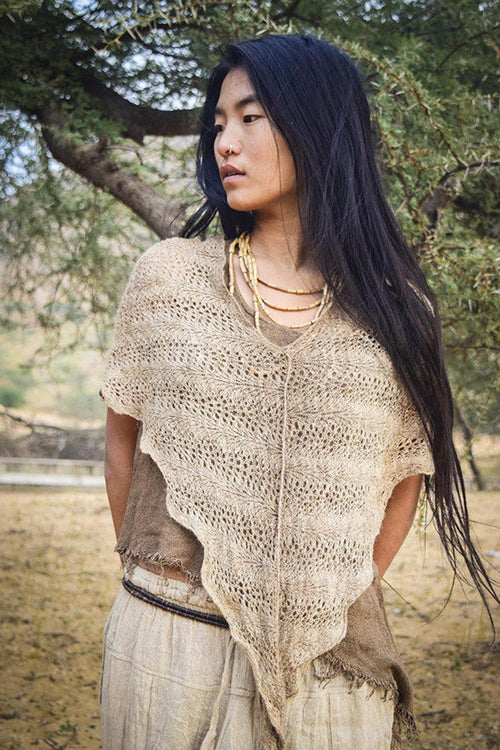 Nettle poncho ~ Knitted From Himalayan Nettle Fiber