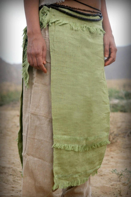 Sage Green Raw Silk Panel Skirt