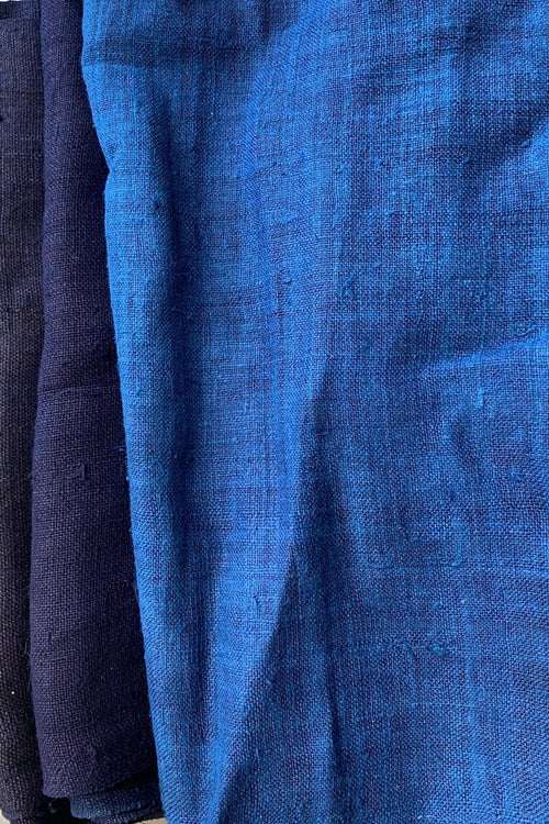 Handwoven Handspun Hill Tribe Hemp Fabric • Indigo dyed