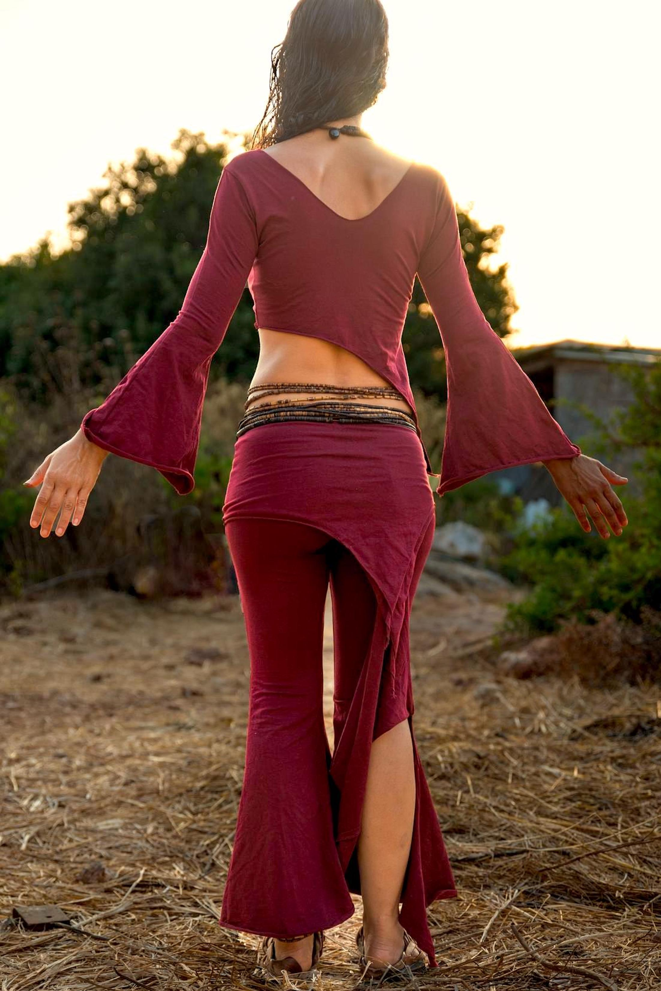 Maroon Pixie Double Pointy Skirt