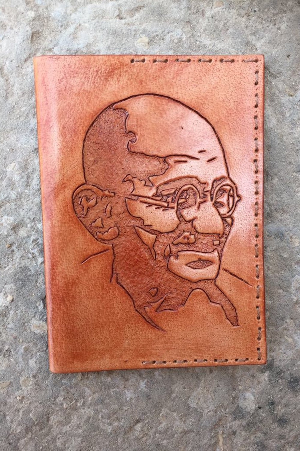 Gandhi Passport Cover . Handcarved Leather .
