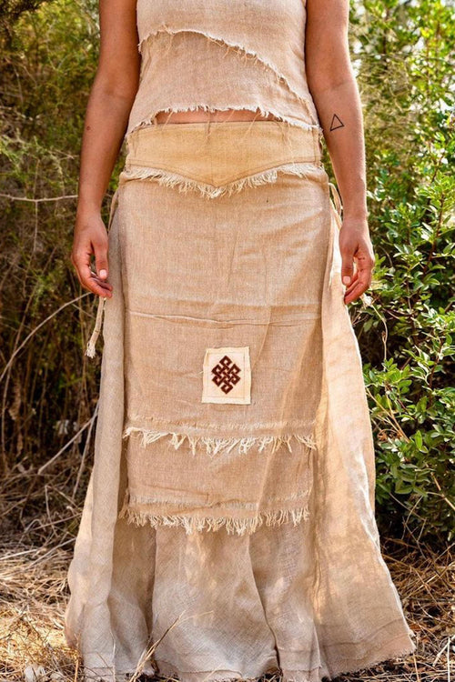 Skirt combination >>~•》Frayed cotton panel skirt with embroidery patch Eternal Knot + Earthy Wrap skirt ~ Thin Linen