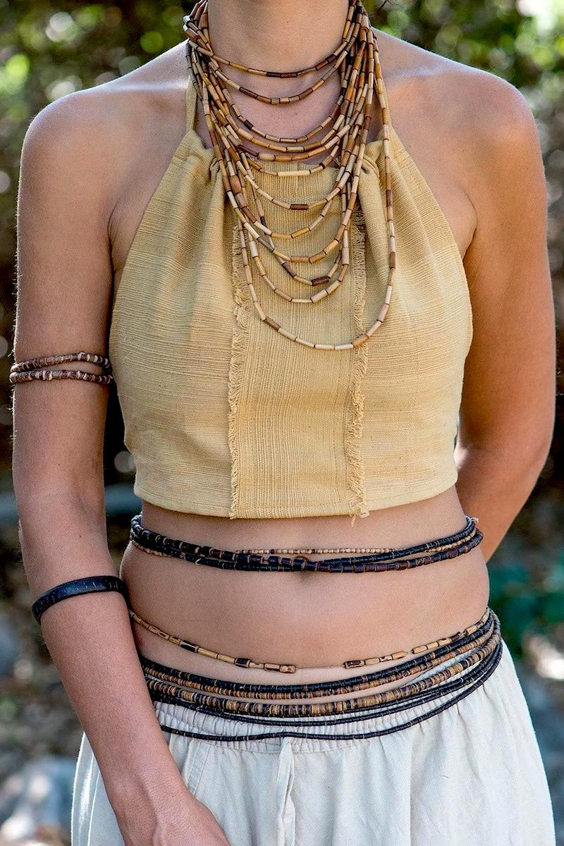Desert Brown Tie Top ~ Natural Dyed Handwoven Khadi Cotton