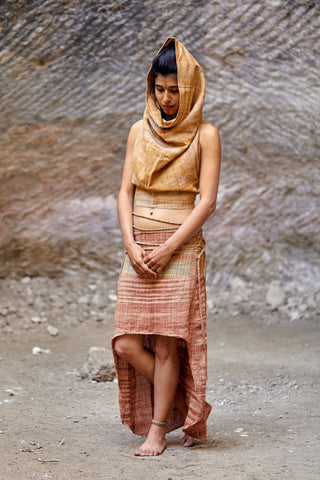 Earth Embrace Outfit >>~•》 Cotton Asymmetrical Sleeveless Dress + Cotton Asymmetrical Long Skirt   >>~•》