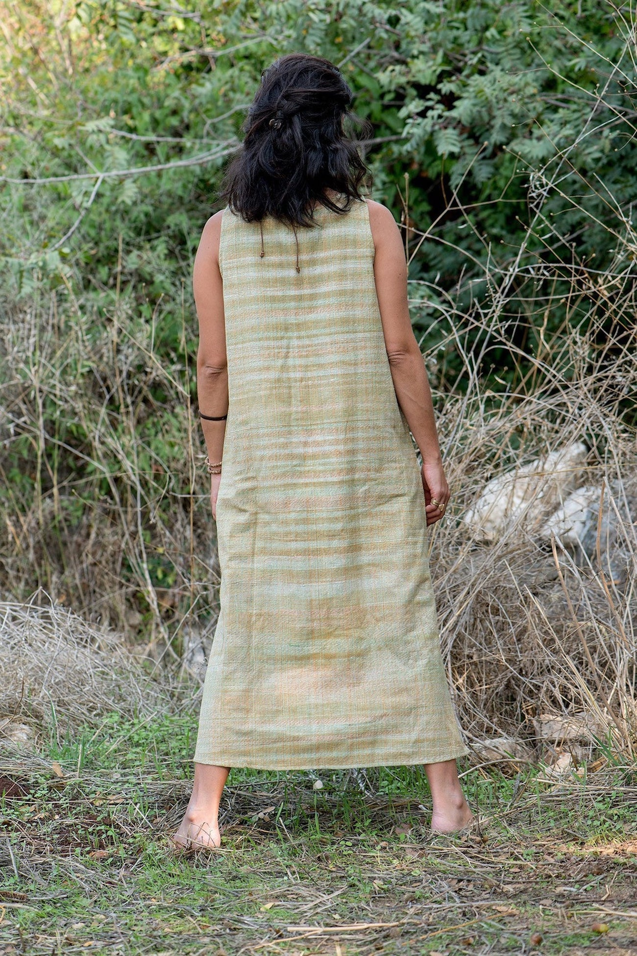 Sangam Dress with coconut buttons. Khadi Cotton Dress. Handwoven Cotton Dress