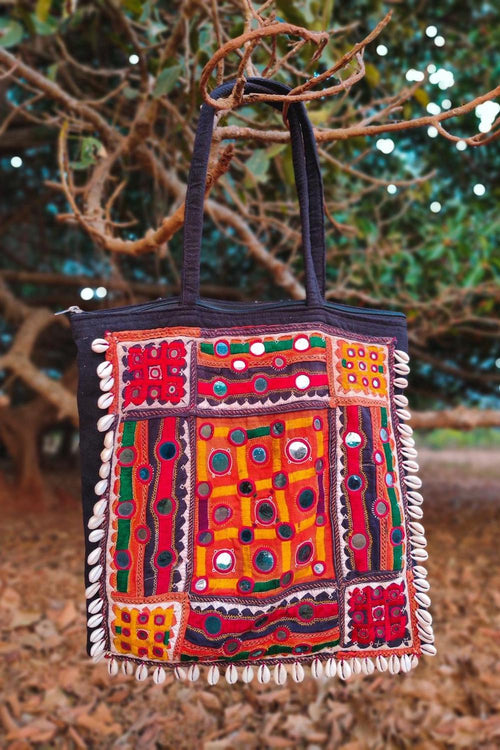 Banjara Tribal patch Large Bag. Intricate Traditional Embroidery