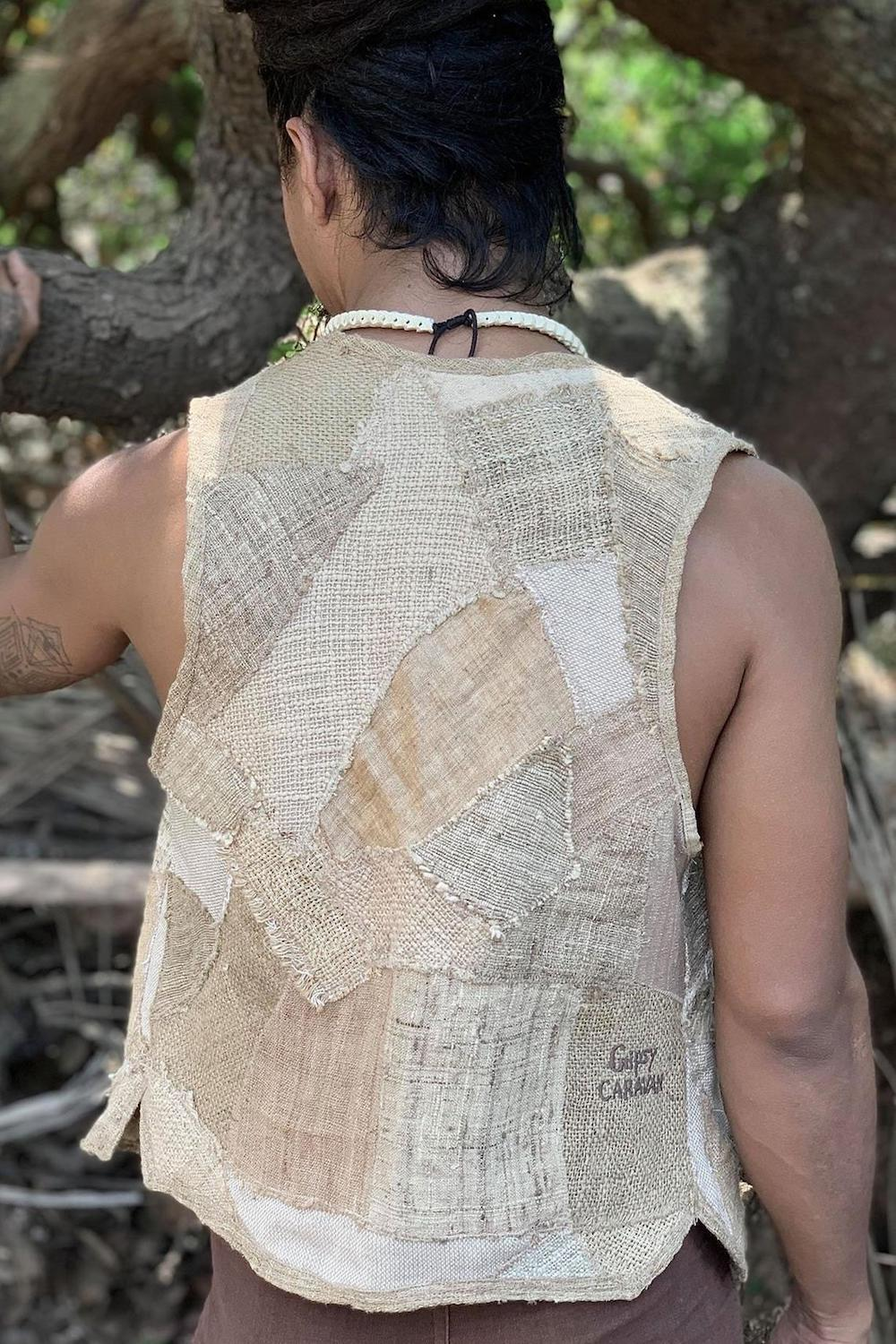 Gipsy Caravan One of a kind earthy Man patched vest