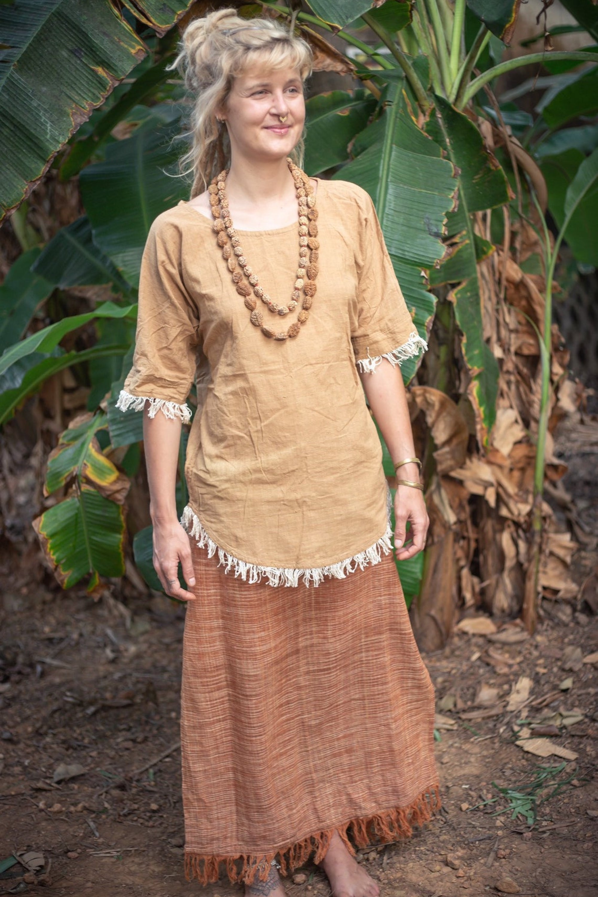 Hippie Top With Fringes  - Camel Brown Natural Dye